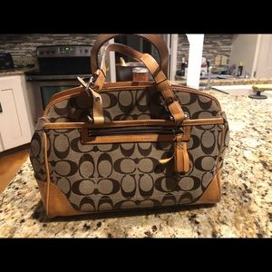 Coach tan & dark chocolate authentic small toe bag